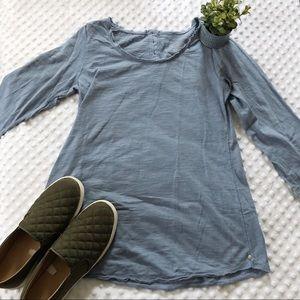 Blue Button Neon Buddha Long Sleeve Shirt